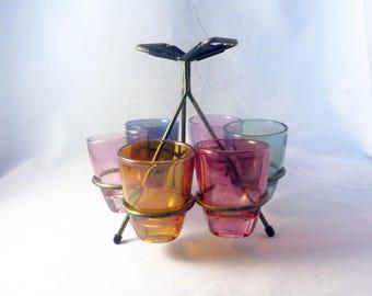 Retro Shot Glasses on  Atomic Sputnik Stand Original 1950's Rainbow Colours Vintage Bar Kitsch