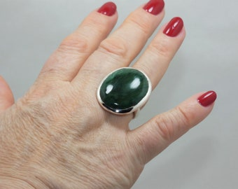 Natural  Jade  Silver  Ring