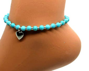 Turquoise Anklet - Elastic Stretch