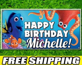 Finding Dory Printed Happy Birthday Vinyl Banner Personalized Custom Name