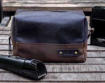 Leather Toiletry Bag, Travel Shaving dopp Kit, Gift for Man, Groomsman, Wedding Gift, Personalized Gift, Groom, Grooming Kit, FREE MONOGRAM