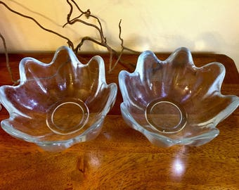 """Vintage clear glass petal bowl 5.5""""wide and 2.75"""" tall."""