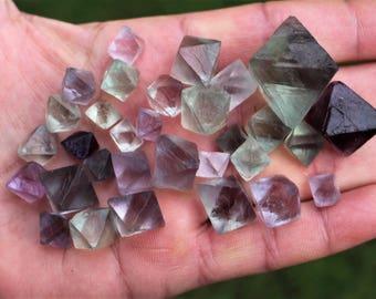 fluorite - 31 pcs beautivul translucent green/purple octahedron fluorite  cristals  China