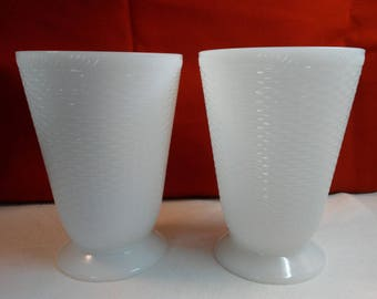 Milk Glass Basket Weave Vases