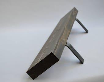 """Rustic Wood Wall Shelf with Heavy Duty Steel Brackets (30"""")"""
