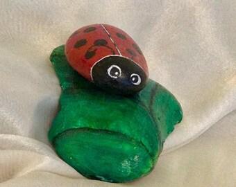 Lucky lady beetle - painted stones, handmade, ladybug on leaf, birthstones, gift, decoration