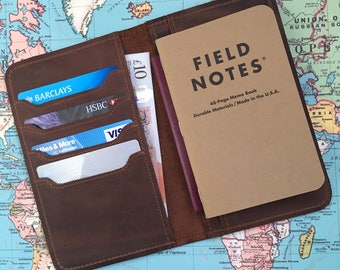 Leather Field Notes Cover Leather Passport Cover Passport wallet Personalized Gift Travel Wallet Custom Passport Holder