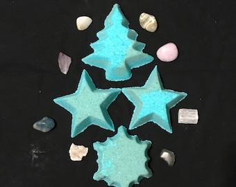 Christmas Themed Bath Bombs | Christmas Bath Fizzy | Christmas Gifts | Bath Fizzies | Star Bath Bombs | Christmas Tree Bath Bomb | Snowflake