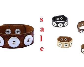 SALE! Bracelet, leather, Leather wristband for push buttons, button, button button, Gr. L,.