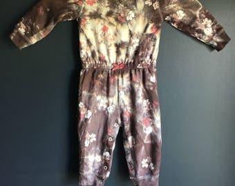 12 month long sleeve one piece tie dyed repurposed