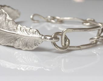 Silver Feather & links bracelet