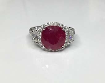 Estate GIA Certified 18K White Gold 8.38 CTW Ruby & Diamond engagement Ring