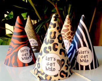 Safari Party Hats, INSTANT DOWNLOAD, Editable, Kids Party Hats, Safari Party, Jungle Party, Printable Party Hats, DIY, Zoo Party, Birthday