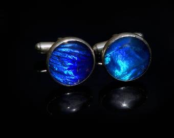 Sterling Silver Real Rhetenor Blue Morpho Butterfly Cufflinks