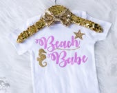 Baby Girl's Beach Babe Onesie, Beach Onesie, Beach Shirt, Vacation Onesie, Beach Shirt, Beach Outfit, Seahorse, Starfish, My first Vacation
