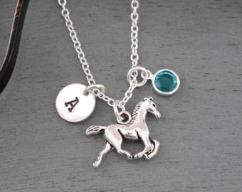 Horse Necklace, Personalized Horse Necklace, Horse Initial Necklace, Horse Letter Birthstone Necklace, Horse Jewelry, Horse Lover Gifts
