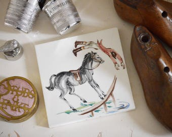 Tally ho! Hand painted tile