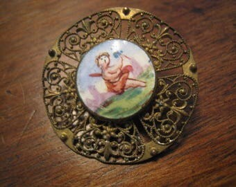 antique porcelain and metal button with angelo 29 mm french collection