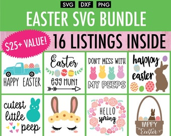 Easter SVG Bundle - 16 Designs - Cut File/Vector, Silhouette, Cricut, SVG, PNG, Clip Art Download, Happy Easter Rabbit Spring Bunny Eggs