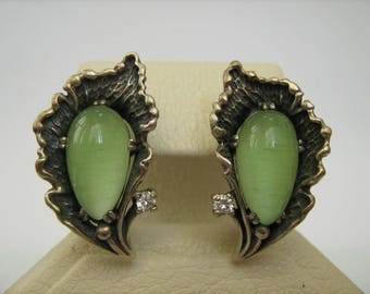 SOLID 925 Sterling Silver Big Pear Green Cat's Eye Gemstone Round White Stones Earrings Snap Closure Latch Back Oxidized Darkened Blackened