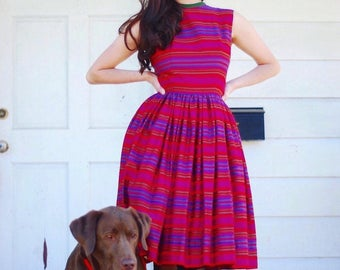1950s striped jewel toned dress