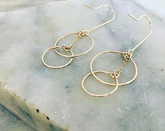 Gold earrings, dangle earrings, boho earrings, delicate earrings, dainty gold, minimalist earrings, long earrings, bridesmaid earrings