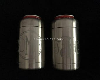 Engraved Stainless Steel Can or Bottle Cooler - Monogram, Personalized, Logo