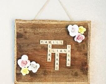 Scrabble Tiles - Scrabble Wall Art - Scrabble Frame - Scrabble Board - Scrabble Letters - Scrabble Tiles Wall Art  - Signs with names