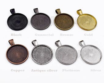 30pcs 25mm Circle blank Pendant Trays-1 inch 25mm Round Bezel Cabochon Settings-Bezel Tray-Blank Bezels-Choose Color