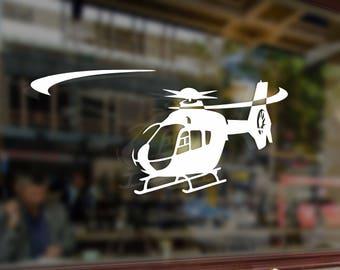 Helicopter EC135 Vinyl Stickers Funny Decals Bumper Car Auto Computer Laptop Wall Window Glass Skateboard Snowboard Helmet