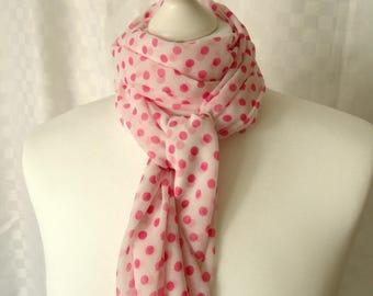 Polka dot scarf, White and pink polka dot scarf, Dot print, scarf, Scarf for her, Lightweight scarf, Fashion scarf, Shawl