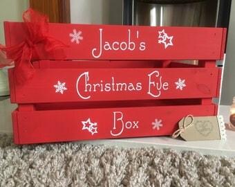 Personalised Christmas Eve crate, Christmas Eve Box, Santa hamper, Wooden crate