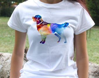 Golden retriever T-shirt - Dog Tee - Fashion women's apparel - Colorful printed tee - Gift Idea
