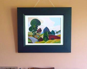 "THE BRIDGE Landscape painting inspired by John Luke. Acrylic on canvas 16"" x 20"""