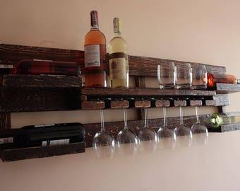 Wine Rack from Wood 120x40 cm Wine rack wall mounted Rustic wine rack Rustic decor Provincial furniture Rustic shelf Wine decor P07