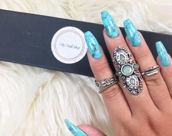 Turquoise Marble Press On Nails