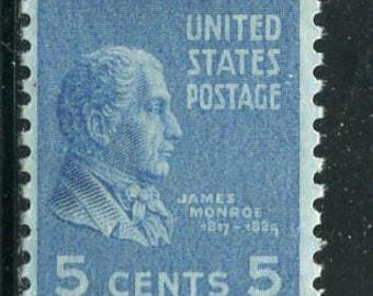 James Monroe Stamps Issued In 1937/5 Blue Unused Vintage Stamps