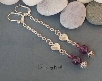 Amethyst wired earrings, Czech glass and silver hearts