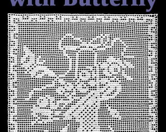 Flower Basket with Butterfly Filet Crochet Pattern