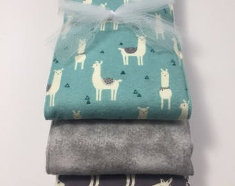 Blue Llama Flannel Burp Cloth Trio