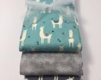 Blue Llama Flannel Burp Cloth Trio