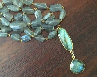 """Labradorite stone """"Rosary chain"""" with a double labradorite stone pendant.  Semi precious stones.  Statement necklace.  Pendant."""