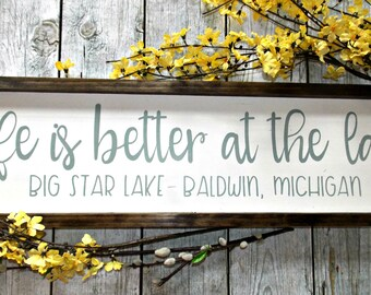 Life is better at the lake | 8x30 | Rustic Decor | Lake Decor | Cottage Decor | Wall Decor | Lake House |