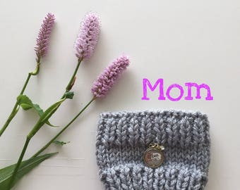 SALE! Cup Cozy for MOM  | Gift for Her | Hand knit | Grey | Silver | Sparkle | Coffee Sleeve | Reuseable | Eco Friendly