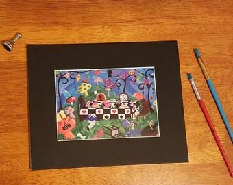 The mad teaparty Alice in Wonderland inspired original art, whimsical art,
