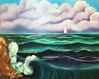 Sea oil painting Sea storm Sea painting Sea landscape Landscape Painting Blue sea Blue waves Blue Landscape House painting Wave painting art