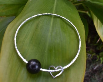Tahitian Pearl Bangle - Sterling Silver with heart