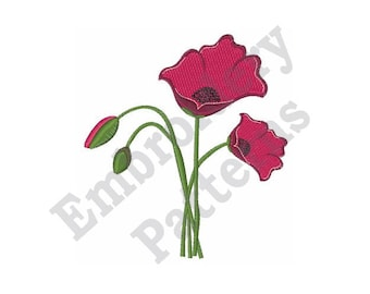 Bunch Of Poppies - Machine Embroidery Design