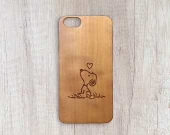 Snoopy In Thought - Personalised Wooden Phone Case