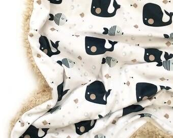 Nautical Whale Baby Blanket,